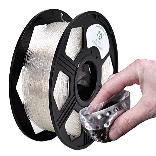 YOYI TPU 3D Printer Filament, Flexible Filament 1.75mm,100% Virgin Raw Material,0.8KG Spool,Dimensional Accuracy +/- 0.03 mm (Clear)