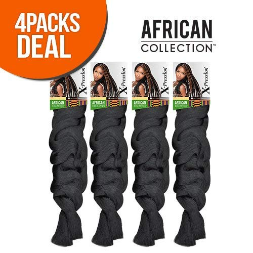 Sensationnel African Collection 100% Kanekalon Fiber X-pression Braid (4 Pack, 27)