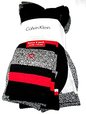Calvin Klein Crew Winter Weight Athletic Sport Socks 4 Pairs (Gray/Black/Red/Mix)