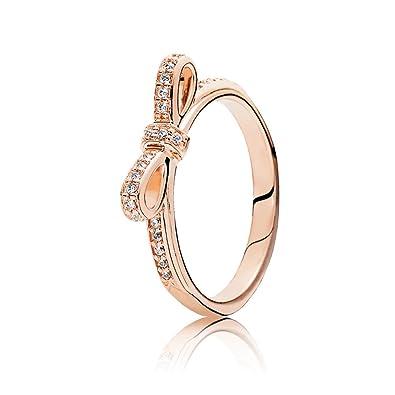 af715e750 PANDORA Sparkling Bow Ring, PANDORA Rose & Clear CZ 180906CZ-54 EU ...