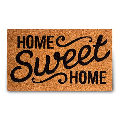 Welcome Home Door - MPLUS Pure Coco Coir Doormat with Heavy-Duty PVC Backing - Home Sweet Home - Pile Height: 0.6-Inches - Size: 18-Inches x 30-Inches - Perfect Color/Sizing for Outdoor/Indoor uses.