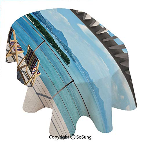 - SoSung Beach Theme Decor Oval Polyester Tablecloth,Modern Tile Roof Top House with Garden and Sea View Image,Dining Room Kitchen Oval Table Cover, 54 x 72 inches,Brown White Green and Blue