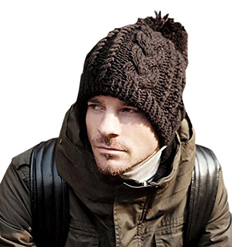 Veenajo Men / Women Winter Hand Knit Faux Fur Pompoms Slouchy Beanie Hat (Brown) -