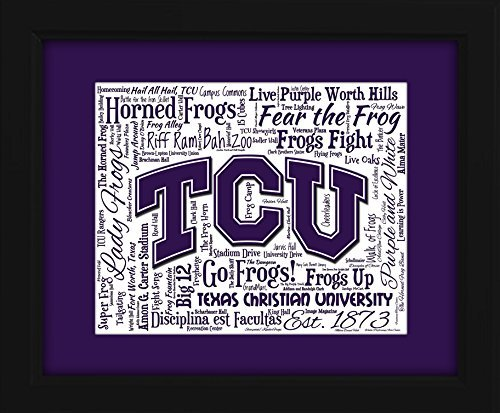 (Texas Christian University (TCU) 16x20 Art Piece - Beautifully matted and framed behind glass)