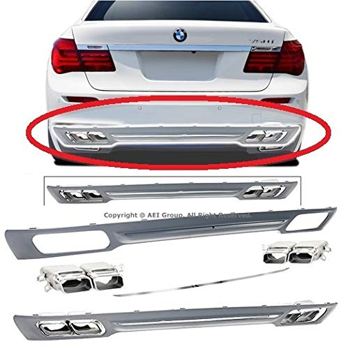 Compatible with 09 10 11 12 13 14 15 BMW 7-Series F01 F02 Sedan 4-Door Replacement for 760 Style Rear Bumper Diffuser with Chrome Trim Tip 2009 2010 2011 2012 2013 2014 2015 Brand] EAX