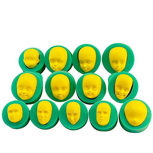 13 pcs 3D Human Face Silicone Mold for Sugarcraft, Fondant, Polymer Clay, Soap Making, Epoxy Resin, Doll Making, Crafting Projects