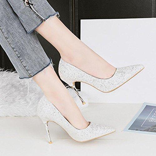 Pour Voyage Pompes Slim De Tip Escarpins Talons Sexy Datant Sandales Blanc Chaussures Mme Maigres Discothques Banquet Paillettes Le HaUwZ