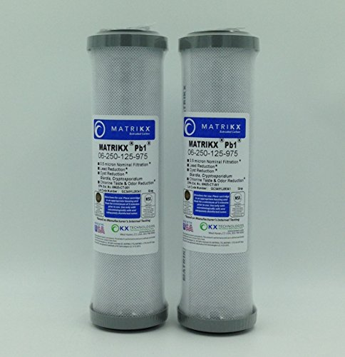 KX MATRIKX Pb1 10-Inch Exhaustively Extruded Carbon Block Filter Cartridge, 2-Pack