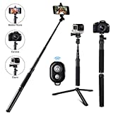 Eocean 46in Selfie Stick Tripod for Cellphone with iOS and Android System Compatible with iPhone Xs/Xr/X/Samsung/Google/Huawei, Selfie Stick for GoPro Hero Fusion/6/5/4/3+/3/2/1, Ricoh Theta S/V, M15, Compact Cameras(Black(46in))