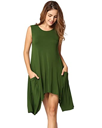 d6fc1572f695 Anself Women Casual Swing T-Shirt Dresses with Pockets Tunic Tank Tops at  Amazon Women s Clothing store