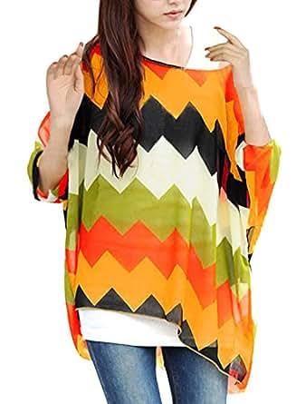 Allegra K Ladies Batwing Sleeve Zigzag Pattern Oversize Shirt Orange XS