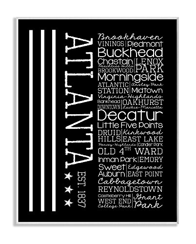 Stupell Home Décor Atlanta Words And Cities Typography Art Wall Plaque, 10 x 0.5 x 15, Proudly Made in USA by The Stupell Home Decor Collection