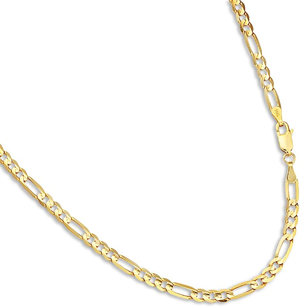 FB Jewels Solid 14K Yellow Gold 3mm Concave Open Figaro Chain Bracelet//Anklet