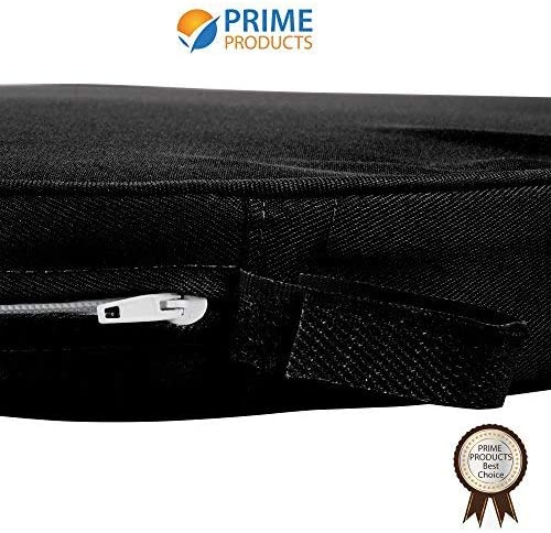 Straps and Removable Zippered Cover Prime Comfort Chair Pad Black Seat Padded Cushion with a Polycore Thread Soft Fabric FBA/_B01DQI80RC