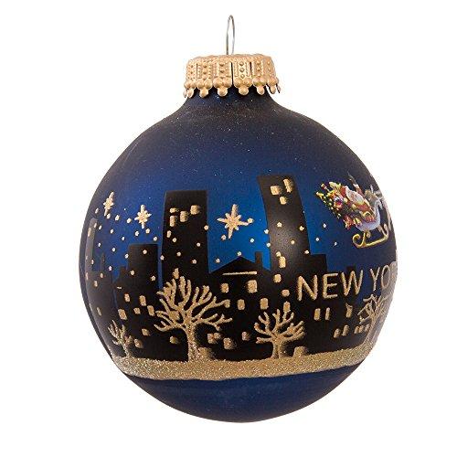Kurt Adler New York Santa Skyline Painted Ball Ornament, ()