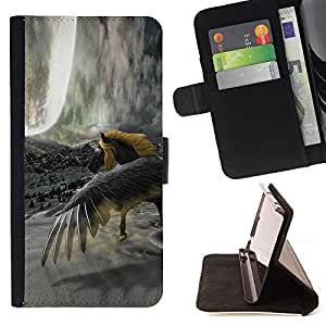 DEVIL CASE - FOR Sony Xperia M2 - Horse Wild Yellow Grey Unicorn Magical - Style PU Leather Case Wallet Flip Stand Flap Closure Cover