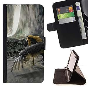 BullDog Case - FOR/Samsung Galaxy S5 Mini, SM-G800 / - / horse wild yellow grey unicorn magical /- Monedero de cuero de la PU Llevar cubierta de la caja con el ID Credit Card Slots Flip funda de cuer