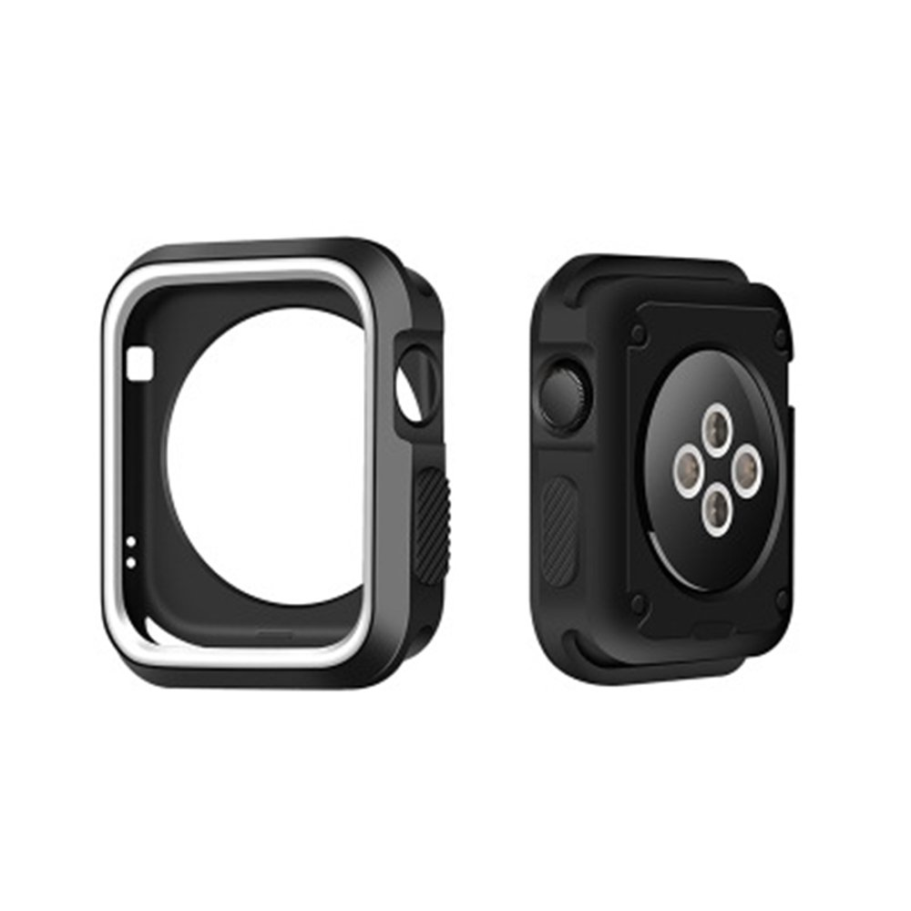 GerTong Armor Apple Watch Case 38mm with Resilient Shock Absorption for Apple Watch Series 3 2 1 and Nike Sport Edition (Black and white) by GerTong (Image #1)