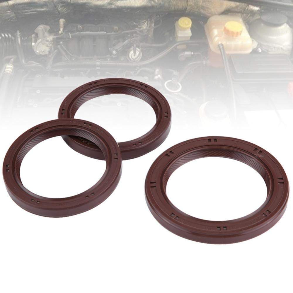 KIMISS 3 Pcs Rubber Genuine Oil Crankshaft Seal Camshaft Oil Filter Housing Seals Kit