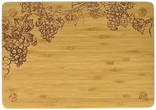 Totally Bamboo Vineyard Cork Footed Serving Board, 100% Bamboo with Permanently Etched Art and Cork Feet, 13