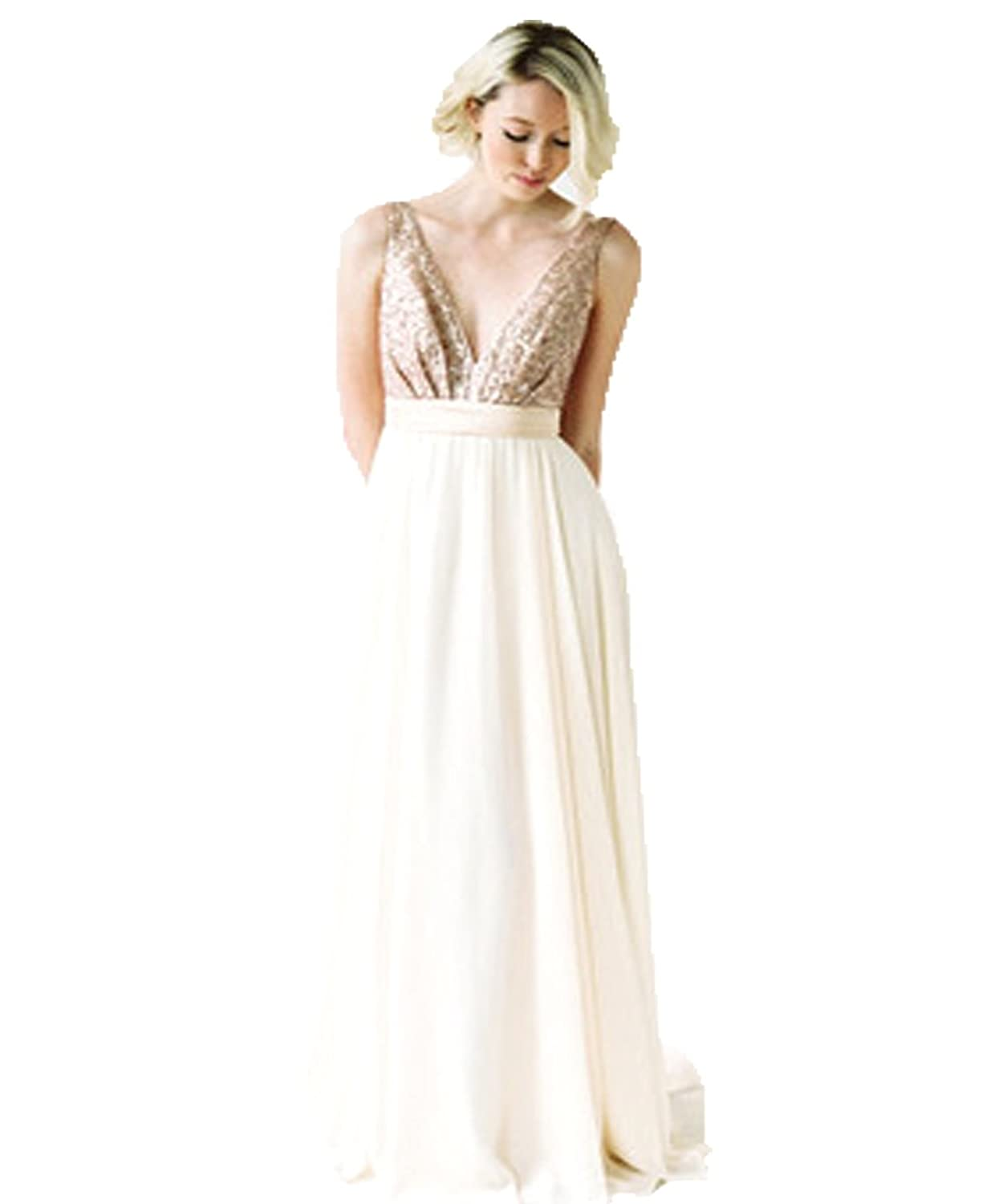 VIPbridal Champagne Chiffon Sequins A line Bridesmaid Dress