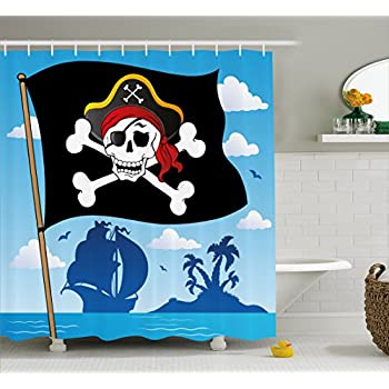 Ambesonne Pirate Shower Curtain By Danger Sign Beware Of Pirates Skull With Hat Flag Deserted