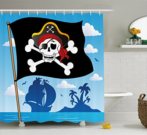 Ambesonne Pirate Shower Curtain by, Danger Sign Beware of Pirates Skull with Hat Flag Deserted Island in the Back, Fabric Bathroom Decor Set with Hooks, 70 Inches, Blue Black White (Fabric Flag Pirate)