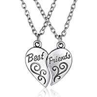 2PCs Friendship Heart Letter BEST FRIEND Silver Pendant Necklace Unisex Chains