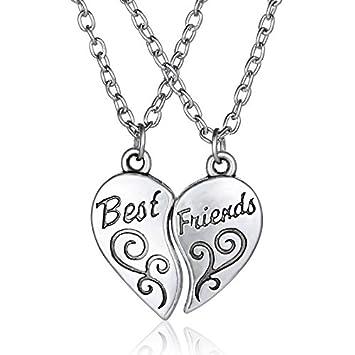 694d5846fe12 Walking Street 2pcs Amistad Corazón Carta Mejor Amigo Colgante de Plata  Collar Unisex Cadenas  Amazon.es  Hogar