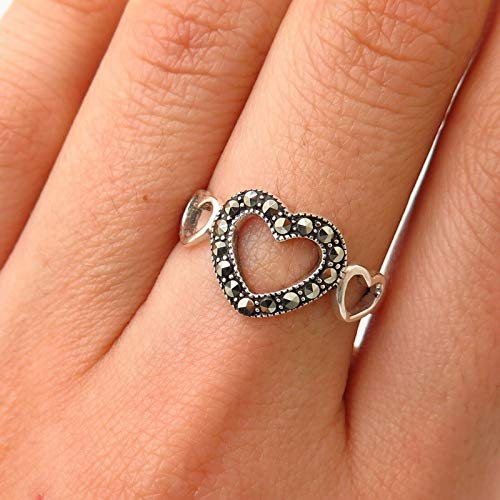 925 Sterling Silver Real Marcasite Gemstone Open Heart Design Ring Jewelry by Wholesale Charms