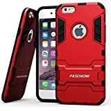 iPhone 6S Case, Pasonomi® [Kickstand Feature] Heavy Duty Hybrid Dual Layer Armor Defender Full Body Protective Case Cover for Apple iPhone 6 (2014) / iPhone 6S (2015) (Red)