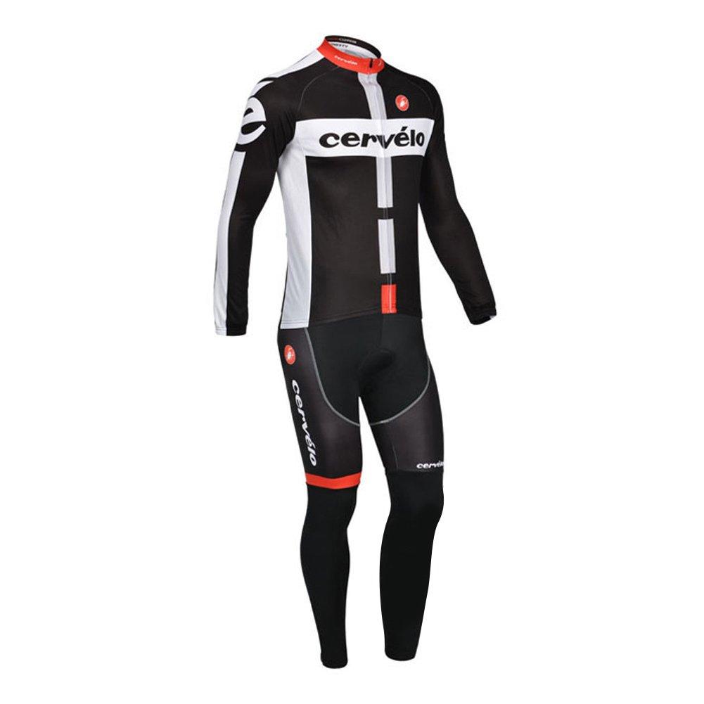 Strgao 2016 メンズ プロチーム MTBバイク 自転車 冬用 保温 サイクリング長袖ジャージ&ビブパンツセット タイツ スーツ B018XXQB6C S|A A S