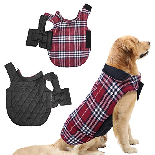SAWMONG Small Dogs Warm Coat Jacket Waterproof Windproof Reversible British Style Red Plaid Cozy Vest Winter Outdoor Pet…