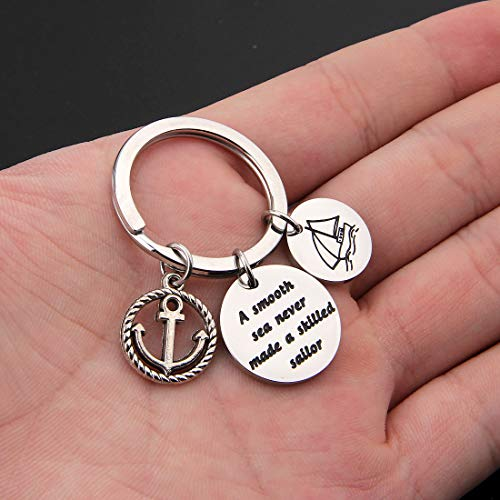 HOLLP Sailor Keyring Anchor Jewelry A Smooth Sea Never Made A Skilled Sailor Gifts for Sailor Beach Jewelry Husband Gift (Sailor Keyring) by HOLLP (Image #4)