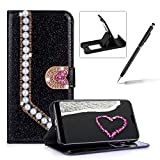 Diamond Wallet Leather Case for Huawei Mate 20 Pro,Flip Cover for Huawei Mate 20 Pro,Herzzer Luxury 3D Beaded Decor Heart Buckle Magnetic Black Glitter Stand Case with Inner Soft Rubber Case