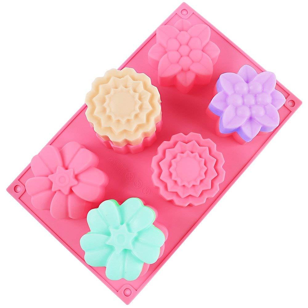Azul Moldes de torta de silicona de 3 piezas SENHAI Molde de masa de pan de silicona de 6 cavidades P/úrpura Rosa Moldes para hornear de postre Bandejas de fabricaci/ón de jab/ón de chocolate