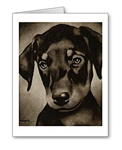 Amazoncom Doberman Pinscher Puppy Set Of 10 Dog Note Cards With