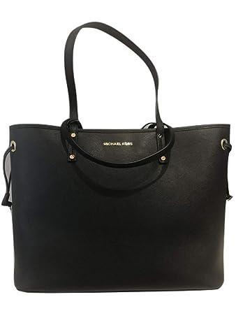 90e9f7cebc Amazon.com  MICHAEL Michael Kors Jet Set Travel Large Drawstring Tote Bag  With Pouch - Black  Clothing