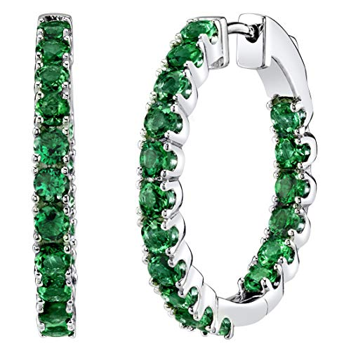 (Sterling Silver Simulated Emerald Inside-Out Hoop Earrings 3 Carats )