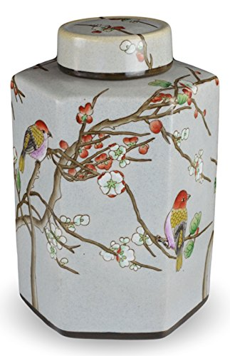 Famille Rose Porcelain Vase - Classic Famille Rose Porcelain Vase, Birds and Cherry Blossom,hand-painted Hexagonal Jar