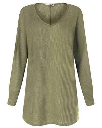Manches StyleDome Robe Shirt Casual Vert Blouse Femme Tops V Pull Longues Col Oversize Jumper xHH1qRwYB