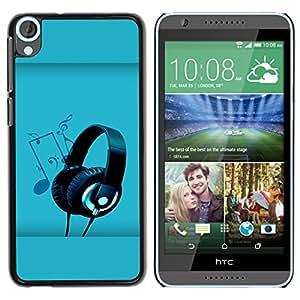 QCASE / HTC Desire 820 / el arte de la música auriculares dibujo nota partido / Delgado Negro Plástico caso cubierta Shell Armor Funda Case Cover