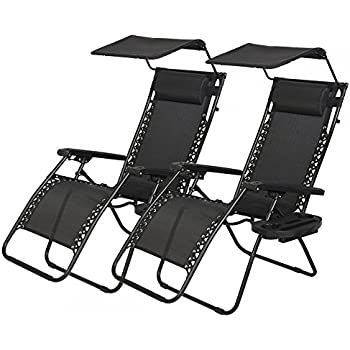 Amazoncom New 2 PCS Zero Gravity Chair Lounge Patio Chairs with