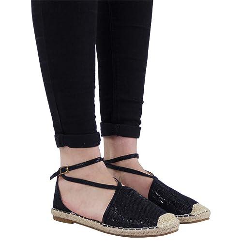 les ventes en gros nouveau concept détails pour OverDose Sandales Espadrilles Femme Plate Été Mode Brillante à Bride  Chaussures Cheville avec Boucle Noir Dorées Argent Taille 35-43