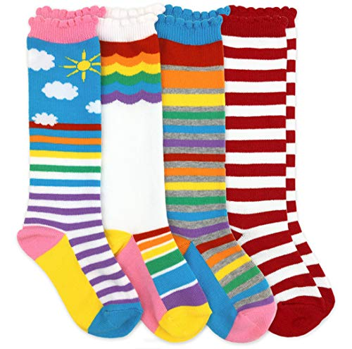 (Jefferies Socks Girls Rainbow Striped Knee High Socks 4 Pair Pack (XS - USA Shoe 6-11 - 2-4 Years, Rainbow/Stripe))