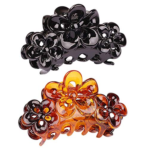 CONOFA 2 Pieces Large Grip Octopus Clip Plum blossom Hair Claw Octopus Jaw Hair Claw Clips for Thick Hair