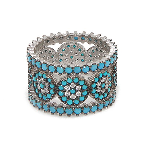 925 Sterling Silver Nano Turquoise and White Cubic Zirconia Cluster Stones Eternity Band Stackable Ring Set (5) (Sterling Ring Cluster Silver Five)