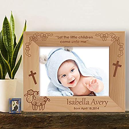 Horizontal -Brown Horizontal Center Gifts Little Children Personalized Wooden Photo Frame-6 x 4