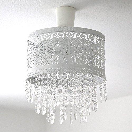 Hängelampenschirm MARRAKECH weiß Lampenschirm aus Metall mit Kristallen