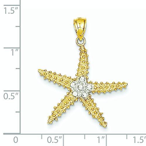 Taille 14 carats et Rhodium Diamant Pendentif Etoile de Mer-JewelryWeb
